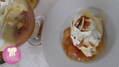 receita de doce de banana caramelada com creme e suspiro