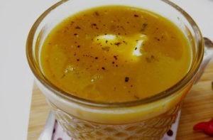 sopa de abóbora japonesa assada