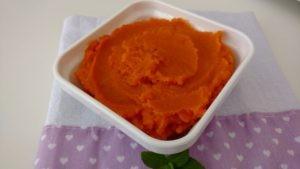 purê de abóbora e cenoura
